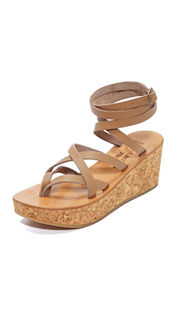 K jacques Leather Sandals with Espadrille Wedge Gr. IT 39 iAcmVo5Q