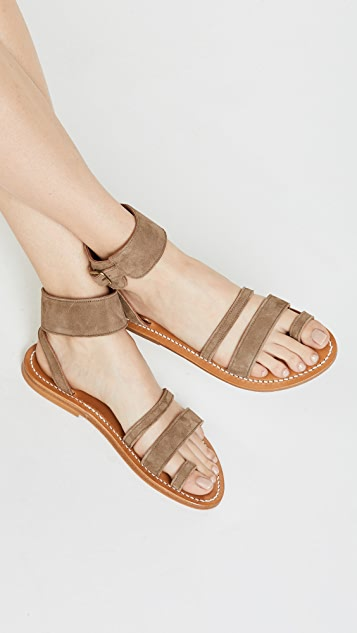 K. Jacques Ares Toe Ring Slide Sandals