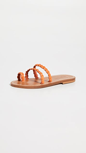K. Jacques Thais Braided Toe Ring Slides