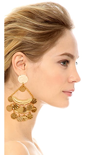 Kenneth Jay Lane Satin Two Row Coin Drop Earrings