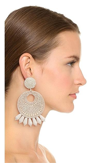 Kenneth Jay Lane Ivory Seed Bead Hoop Earrings