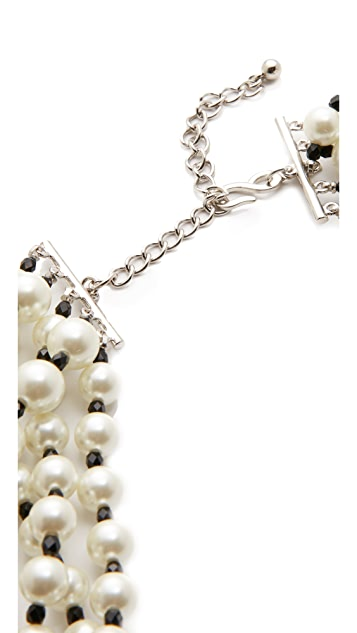 Kenneth Jay Lane Five Row Pearl Jet Necklace