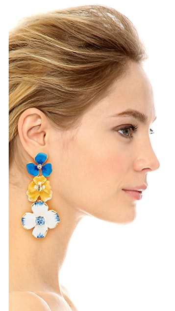 Kenneth Jay Lane Triple Flower Drop Earrings
