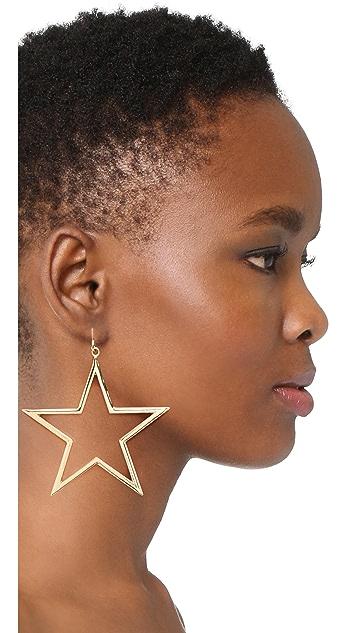 Kenneth Jay Lane Single Open Star Fishhook Earring