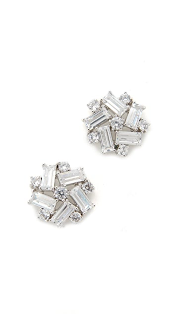 Kenneth Jay Lane Crystal Button Earrings