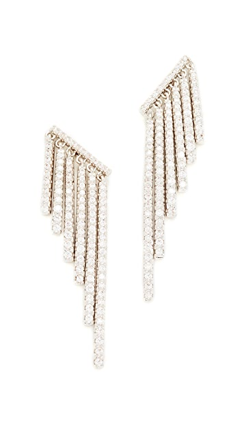 Kenneth Jay Lane Round CZ Pave Fringe Ear Crawlers