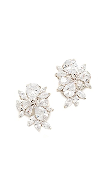 Kenneth Jay Lane Pear & Marquis Cluster Stud Earrings