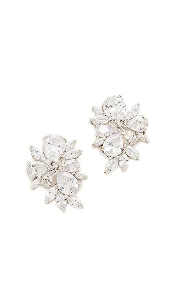 Kenneth Jay Lane Pear & Marquis Cluster Stud Earrings