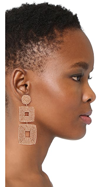 Kenneth Jay Lane Champagne Square Earrings