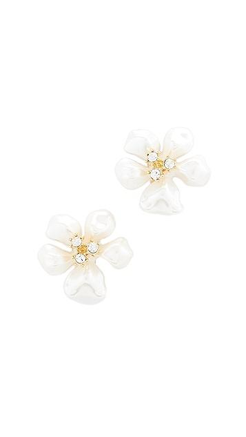 Kenneth Jay Lane Imitation Pearl Flower Earrings