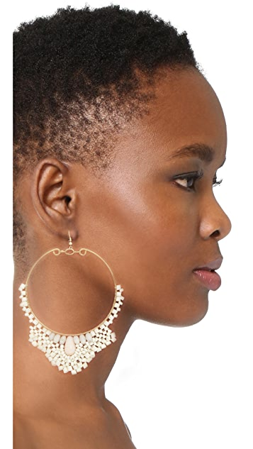 Kenneth Jay Lane Seed Bead Hoop Earrings
