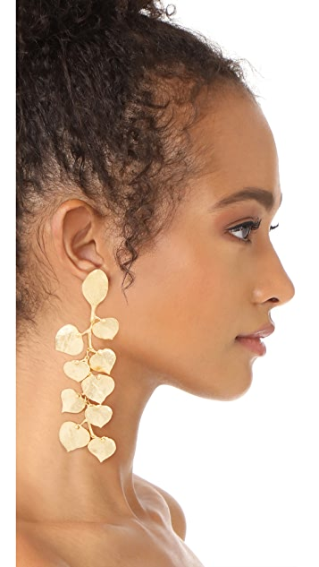 Kenneth Jay Lane Satin Gold Leaf Earrings