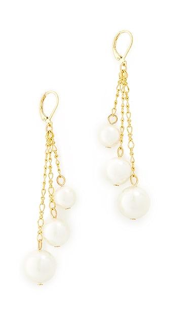 Kenneth Jay Lane Imitation Pearl Chain Drop Earrings