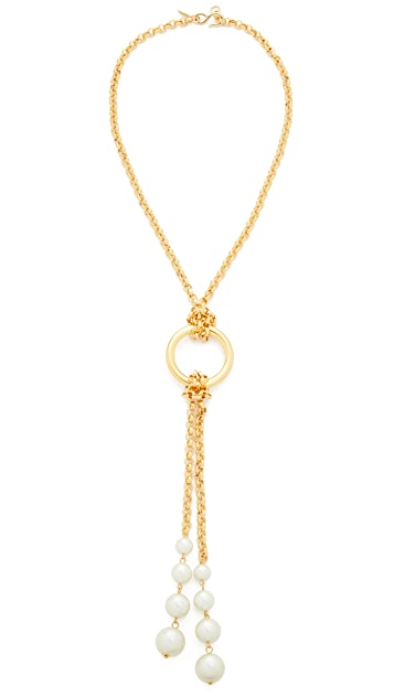 Kenneth Jay Lane Knot Chain Imitation Pearl Necklace