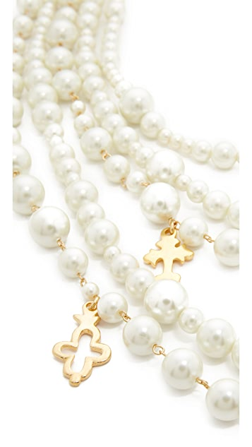 Kenneth Jay Lane Imitation Pearl with Charms Necklace