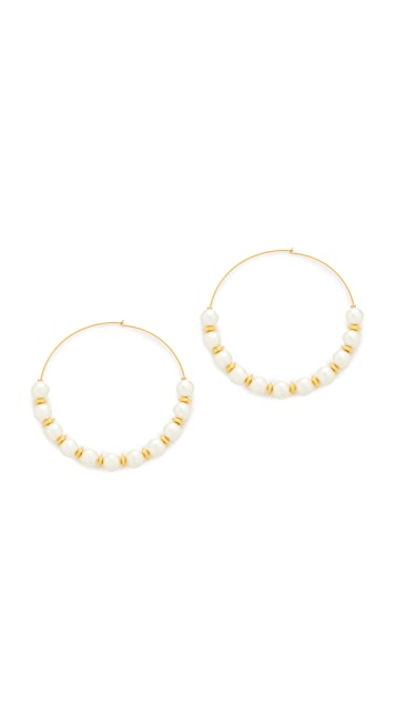 Kenneth Jay Lane Hoop with Imitation Pearls Earrings
