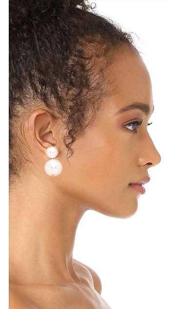 Kenneth Jay Lane Imitation Pearl & Bead Drop Earrings