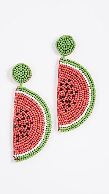 Kenneth Jay Lane Watermelon Drop Earrings - Red/Green