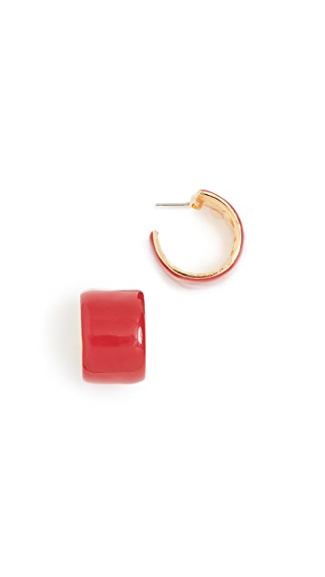 Kenneth Jay Lane Enamel Hoop Ring Earrings