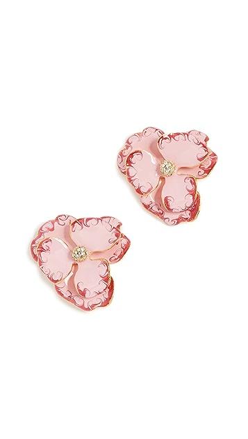 Kenneth Jay Lane Pink Flower Earrings