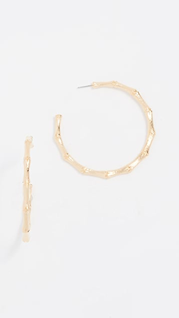 Kenneth Jay Lane Large Gold Bamboo Hoop Earrings - Gold