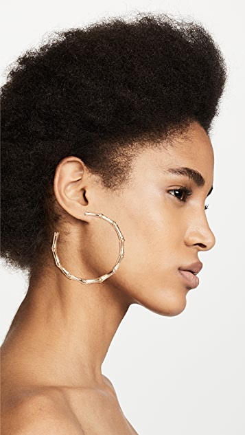 Kenneth Jay Lane Large Gold Bamboo Hoop Earrings