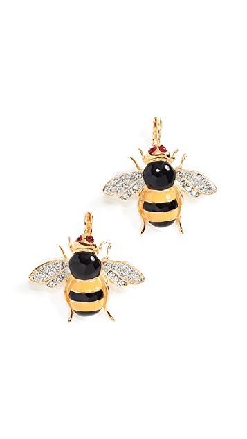Kenneth Jay Lane Enamel Bee Wire Earrings