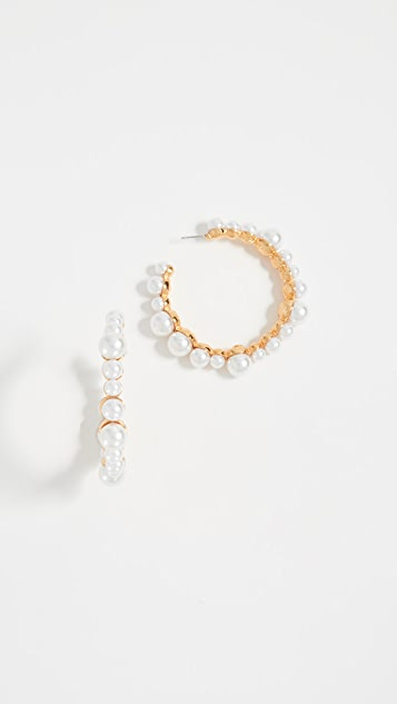Kenneth Jay Lane Imitation Pearl Hoop Earrings