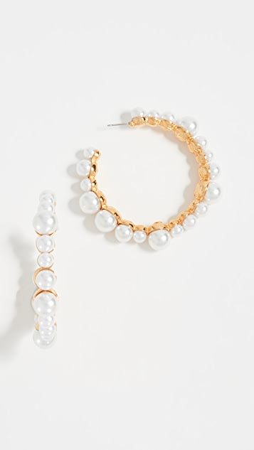 Kenneth Jay Lane Imitation Pearl Hoop Earrings - White Pearl