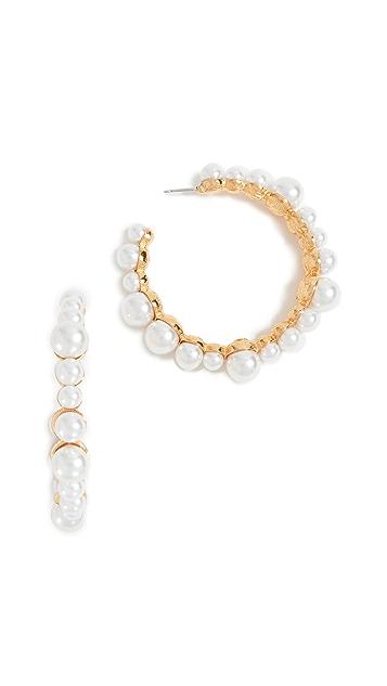 Kenneth Jay Lane Imitation Pearl Hoop Earrings