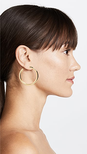 Kenneth Jay Lane Large Gold Tube Hoop Earrings