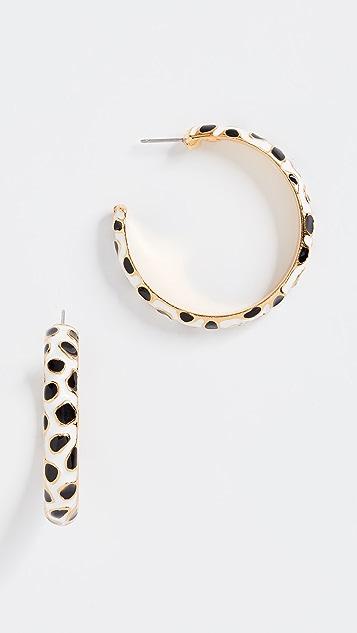 Kenneth Jay Lane Giraffe Print Hoop Earrings - White/Black