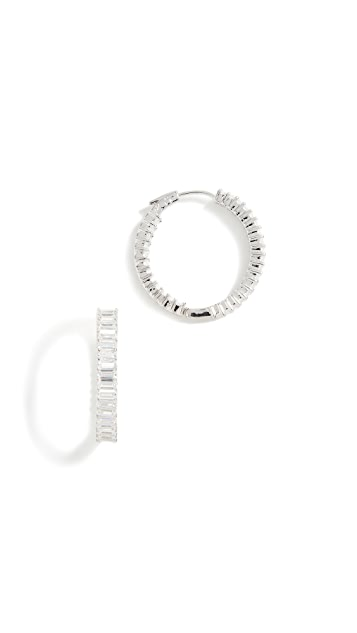 Kenneth Jay Lane Baguette Hoop Earrings
