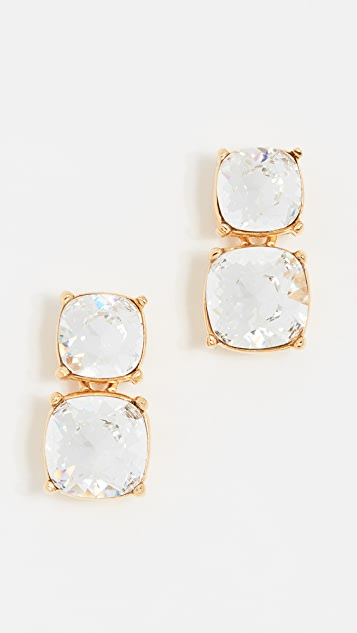 Kenneth Jay Lane Square Stone Earrings - Crystal