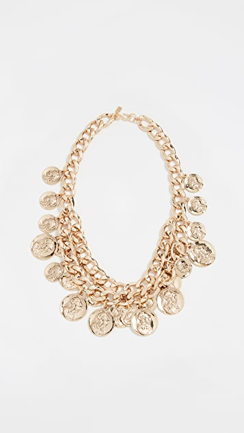 Kenneth Jay Lane Two Row Coin Necklace