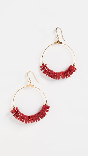 Kenneth Jay Lane Dark Coral Disks Earrings