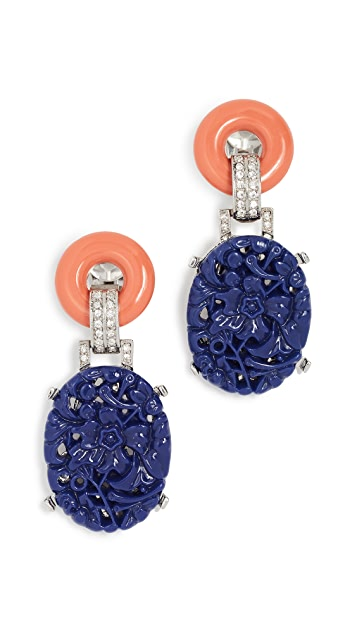 Kenneth Jay Lane Carved Drop Deco Clip Earring
