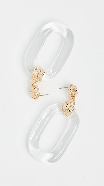 Kenneth Jay Lane Polished Gold & Clear Oval Link Earrings