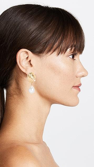 Kenneth Jay Lane Imitation Pearl Drop Seashell Earrings