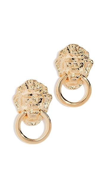 Kenneth Jay Lane Polished Lion Head Doorknocker Earrings