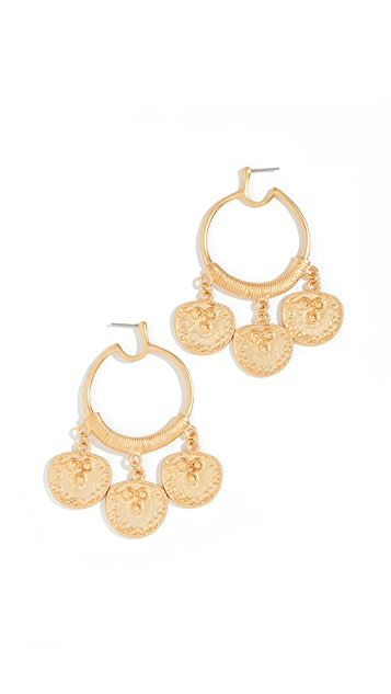 Kenneth Jay Lane Coin Drop Hoop Earrings