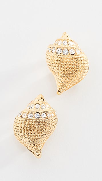 Kenneth Jay Lane Seashell Pave Earrings - Gold/Crystal