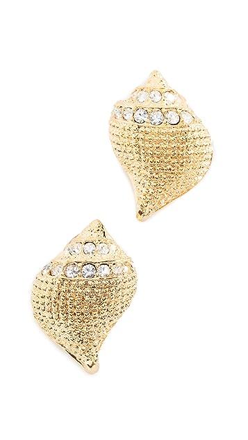 Kenneth Jay Lane Seashell Pave Earrings