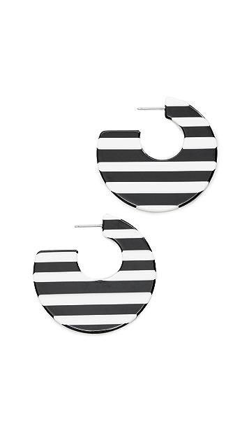 Kenneth Jay Lane Striped Block Hoop Earrings