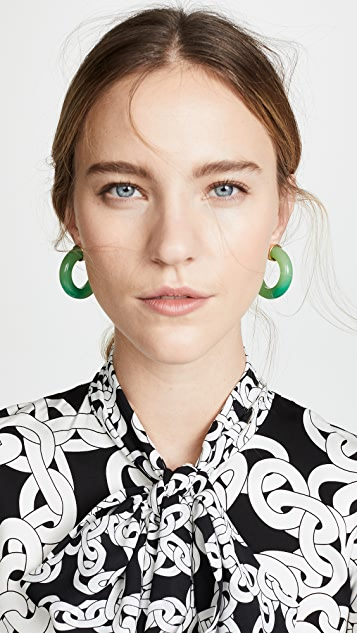 Kenneth Jay Lane Jade Small Thick Hoop Earrings