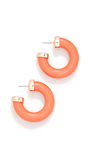 Kenneth Jay Lane Bright Coral Small Thick Hoop Earrings