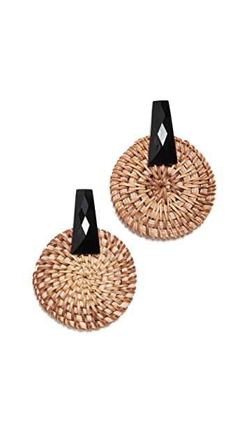 Kenneth Jay Lane Black and Raffia Circle Drop Earrings