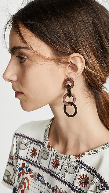 Kenneth Jay Lane Wood Earrings