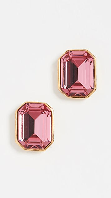Kenneth Jay Lane Pink Rectangle Stud Earrings