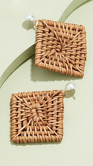 Kenneth Jay Lane Rattan Drop Earrings